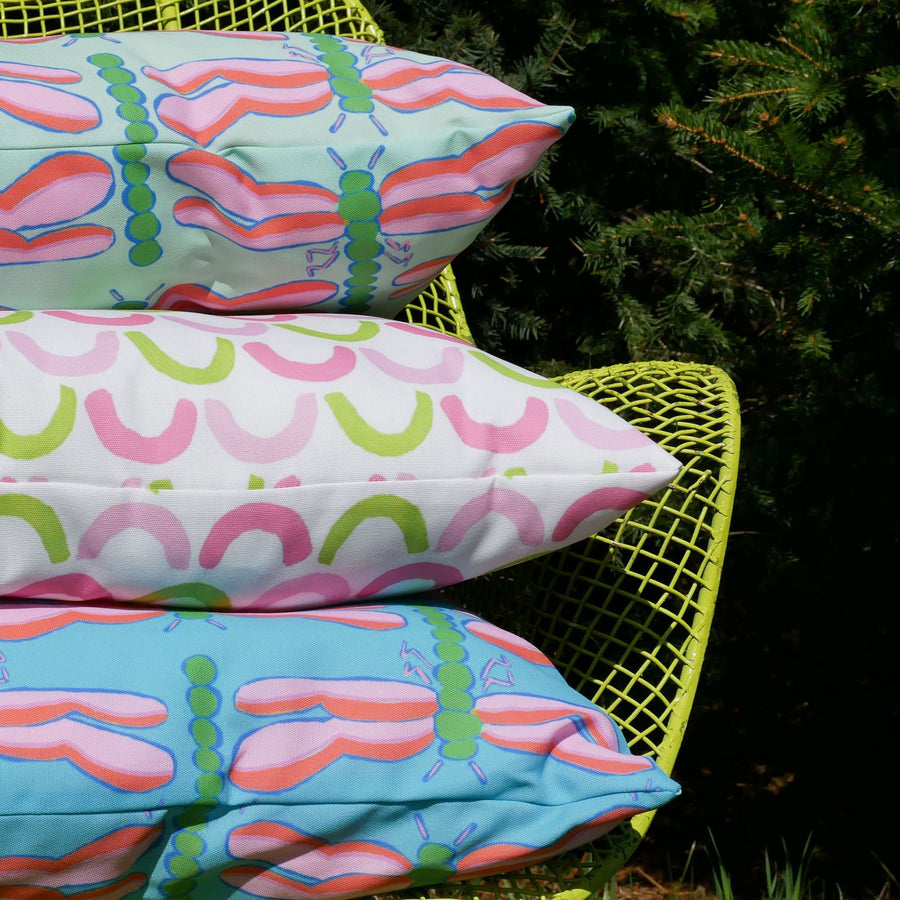 Waterfall Dragonfly Outdoor Square Pillow