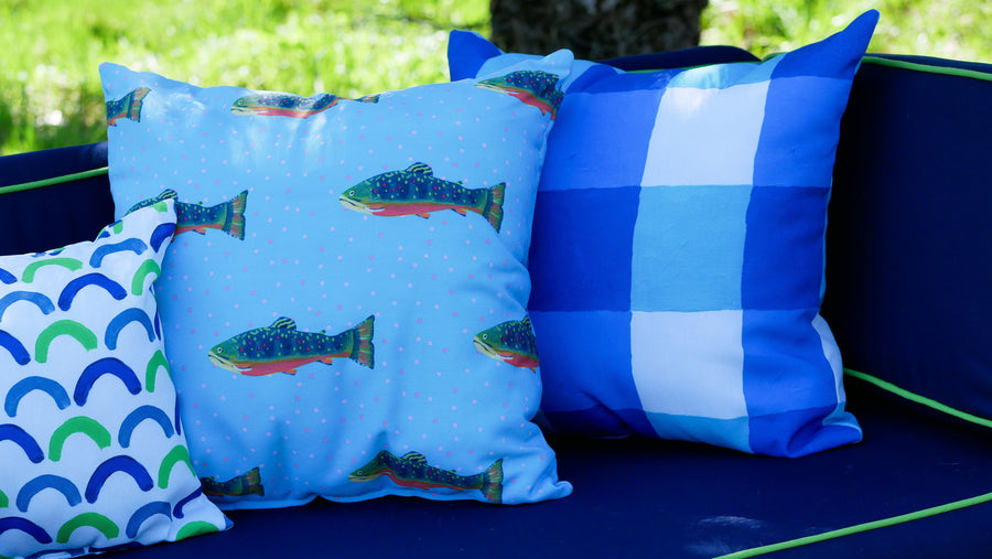 Waterfall Brook Trout Outdoor Square Pillow