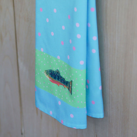 Waterfall and Leaf Trout Tea Towel
