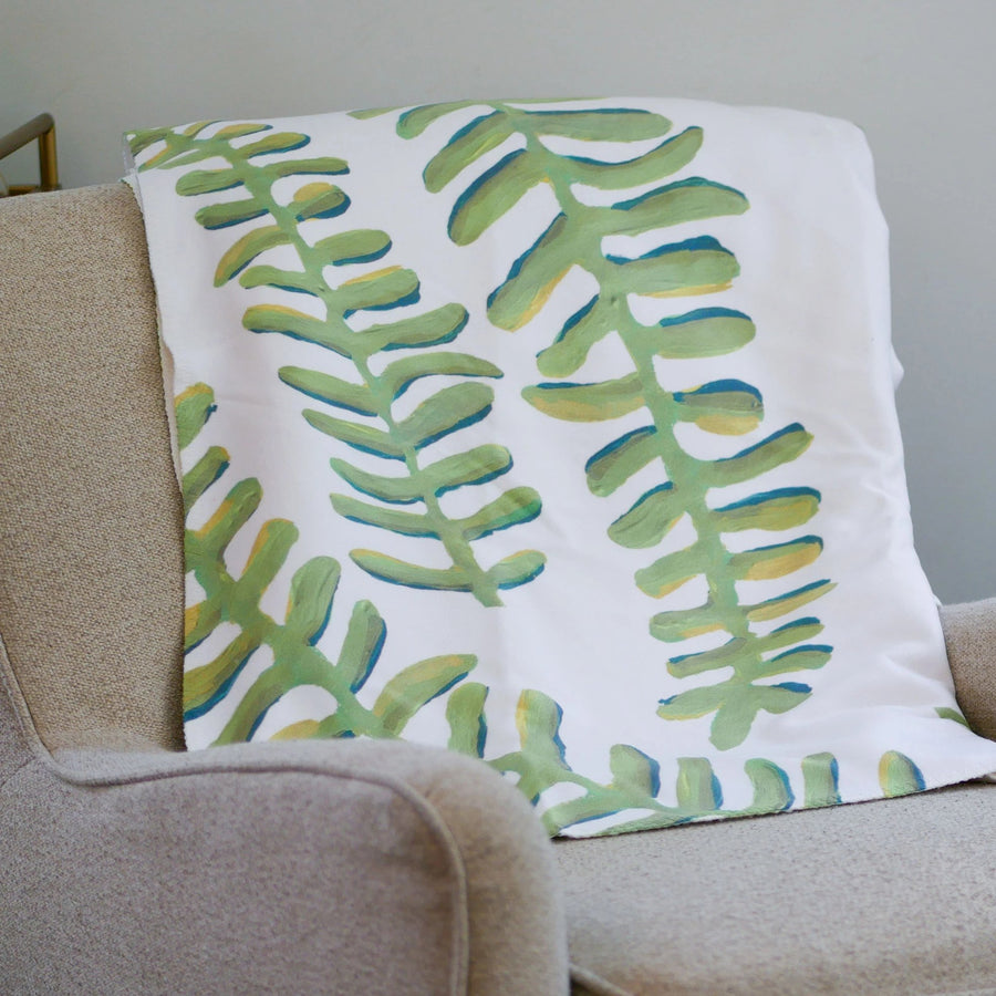 White Floating Fronds Sherpa Blanket