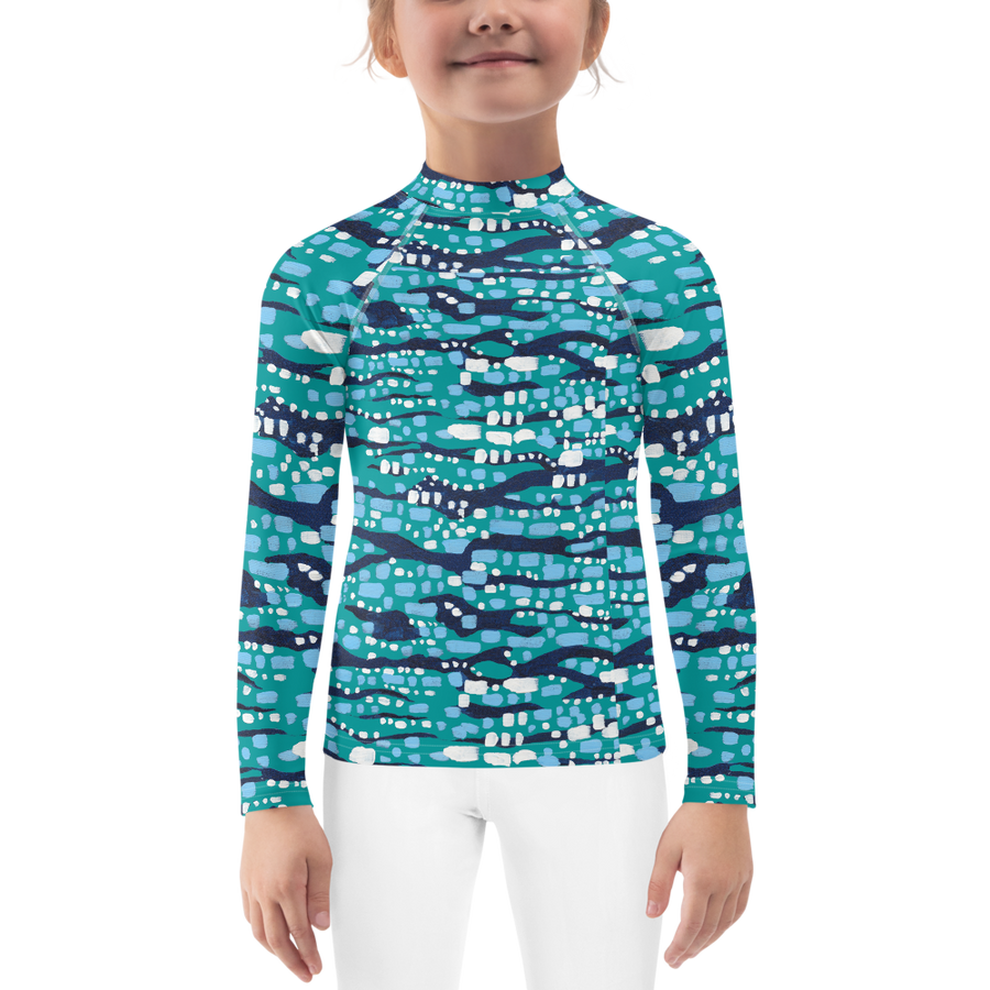 Jade Glittering Diamonds Kids Rashguards