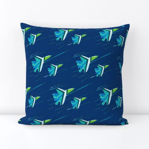 Navy Blue Angels Down Pillow