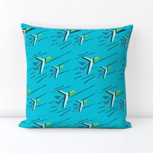 Waterfall Blue Angels Outdoor Square Pillow
