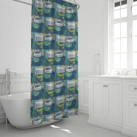 Staggered Tug Shower Curtain