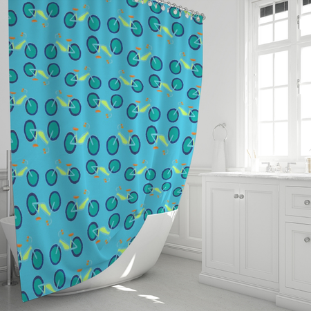 Surf Summer Bikes Shower Curtain
