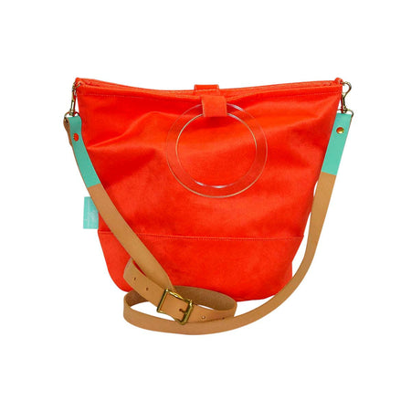 Tangerine Velvet Bucket Bag