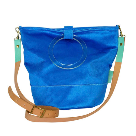 Cornflower Velvet Bucket Bag