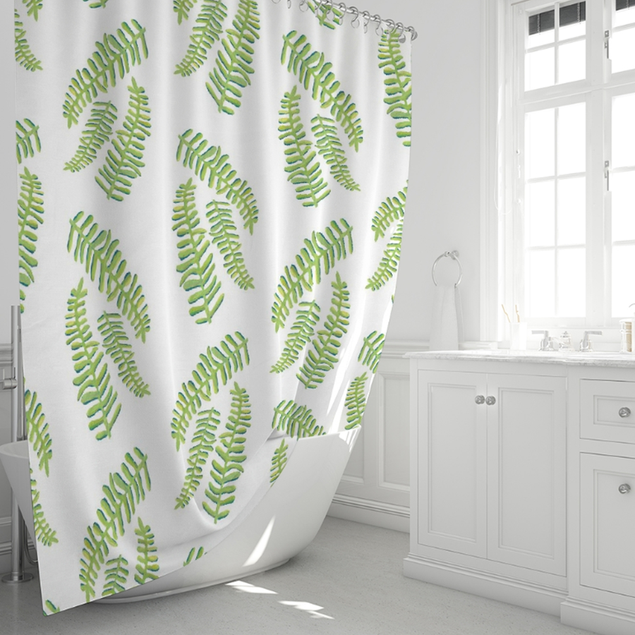 White Floating Fronds Shower Curtain