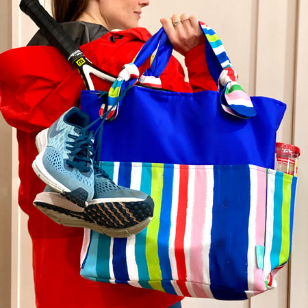 Royal/Stripe Outside Bag
