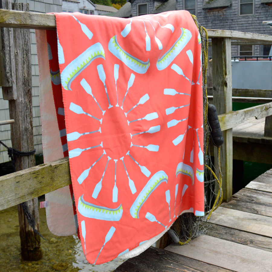 Coral Canoes Sherpa Blanket