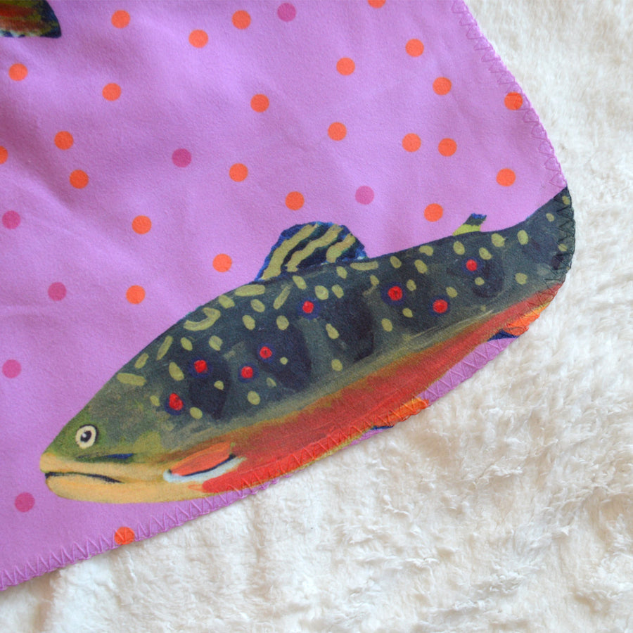 Fuchsia Brook Trout Sherpa Blanket