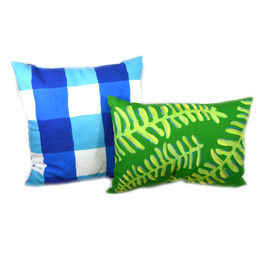 Lake and White Buffalo Check Outdoor Square Pillow