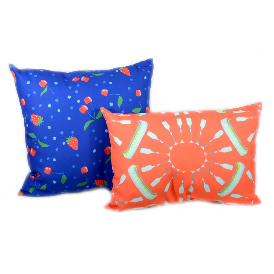 Sapphire Berries and Cherries Outdoor Square Pillow