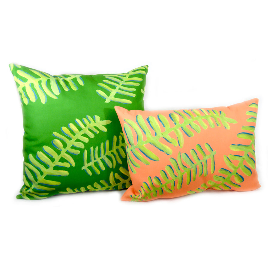 Soft Orange Floating Fronds Outdoor Lumbar Pillow