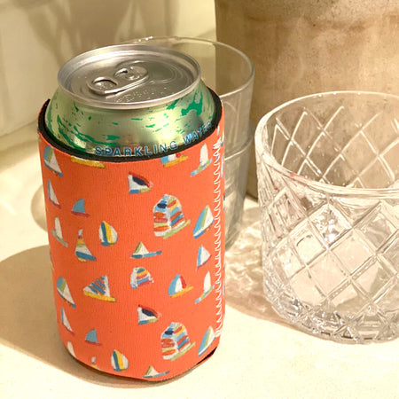Coral Summer Sail Short Coozie