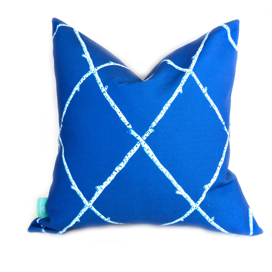 Navy Birch Lattice Down Pillow