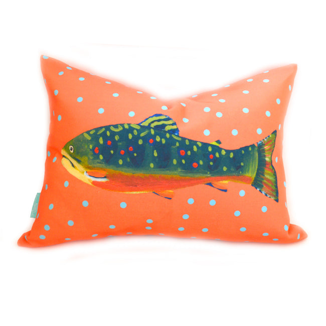 Grapefruit Brook Trout Lumbar Down Pillow