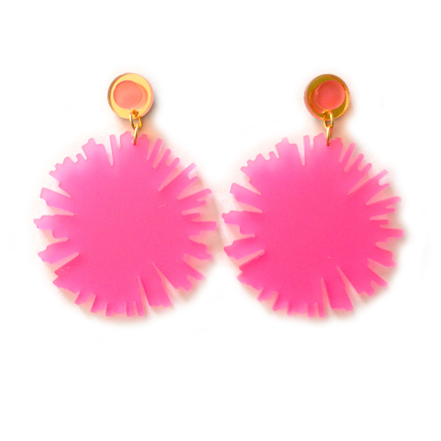 Pink Firework Burst Earrings