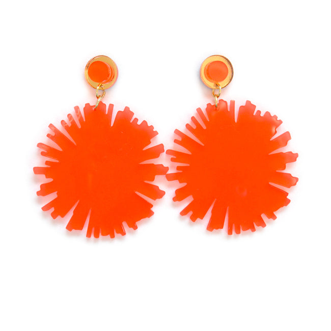 Coral Firework Burst Earrings
