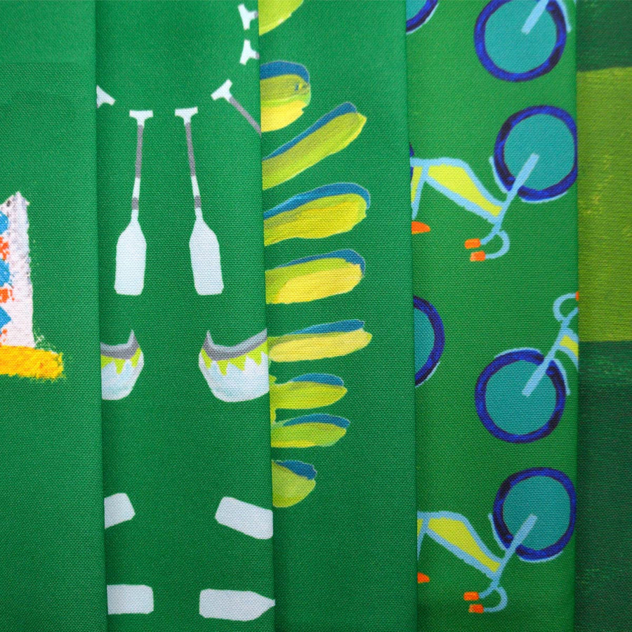 Emerald Canoes and Oars Fabric