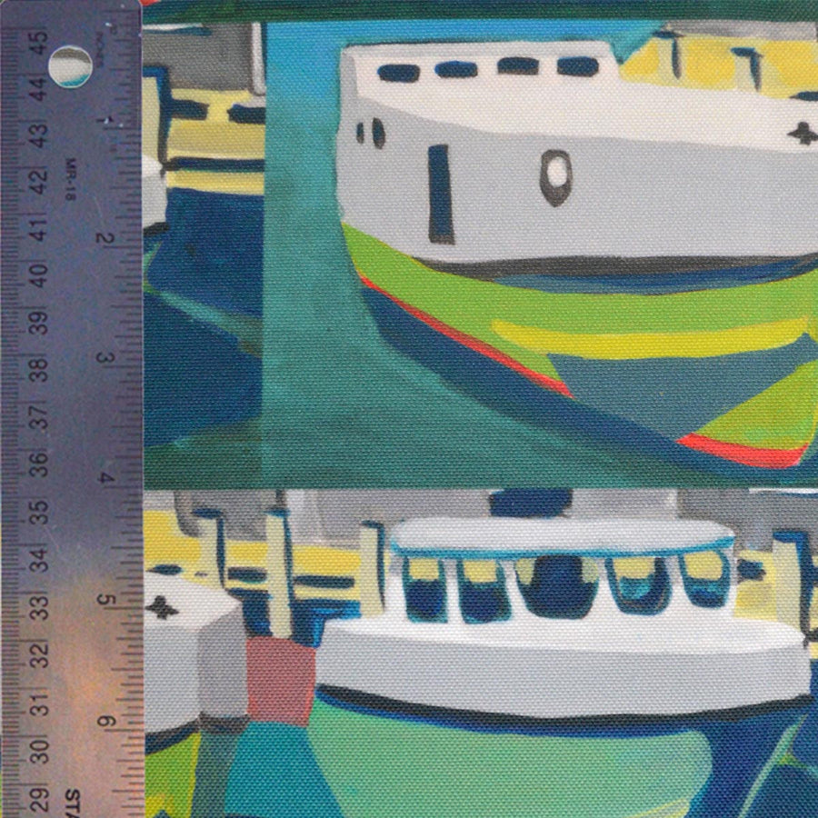 Green Staggered Tugs Fabric