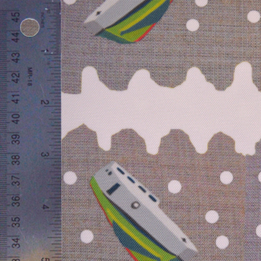 White Squiggle Tugs Fabric
