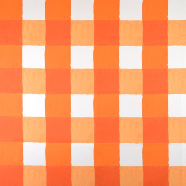 Citrus and White Buffalo Check Fabric