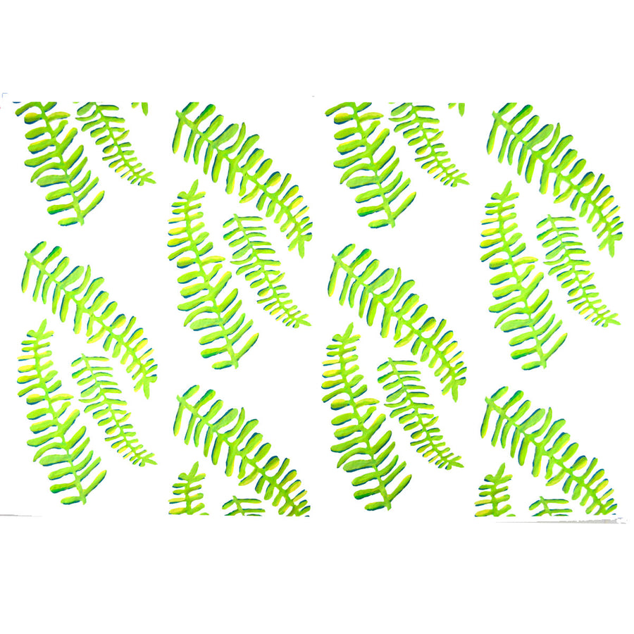 White Floating Fronds Fabric