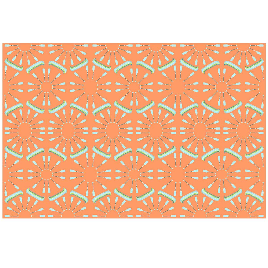 Soft Orange Canoes and Oars Fabric