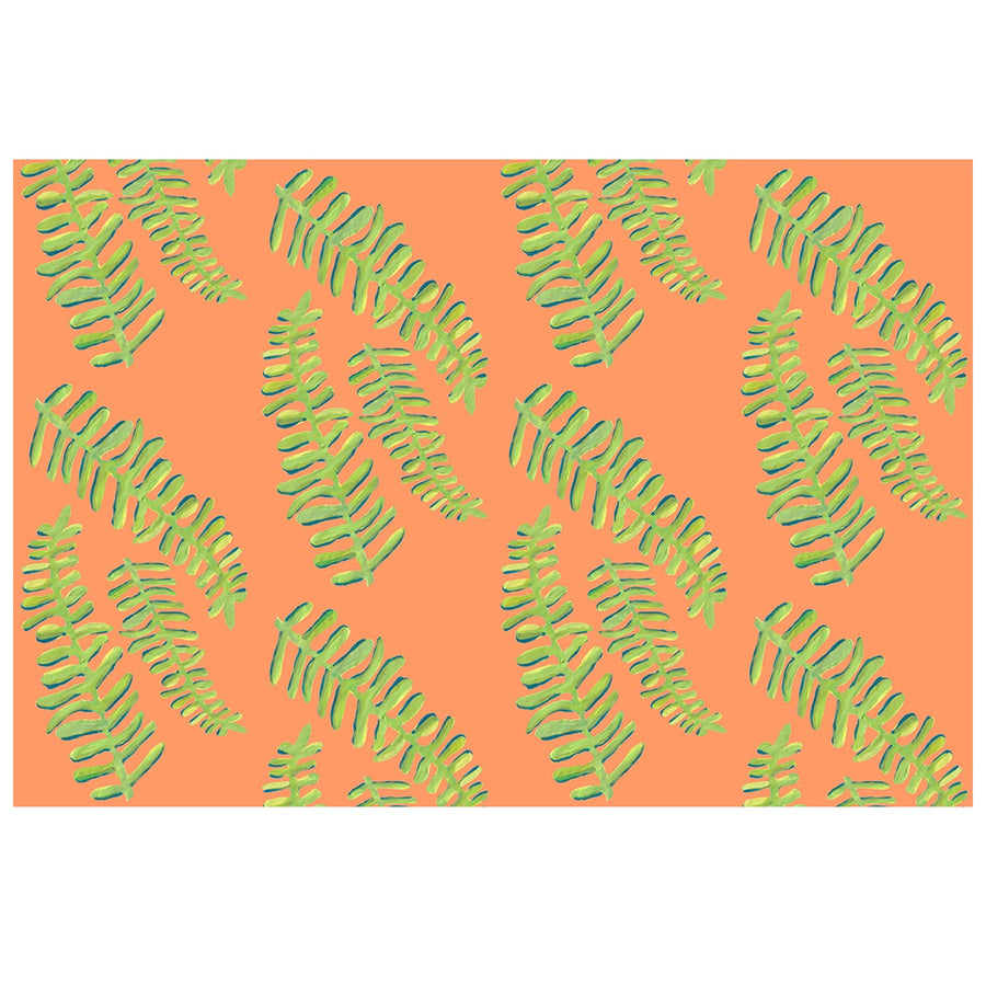Soft Orange Floating Fronds Fabric
