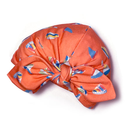 Grapefruit Summer Sail Girly Bow Baby Hat