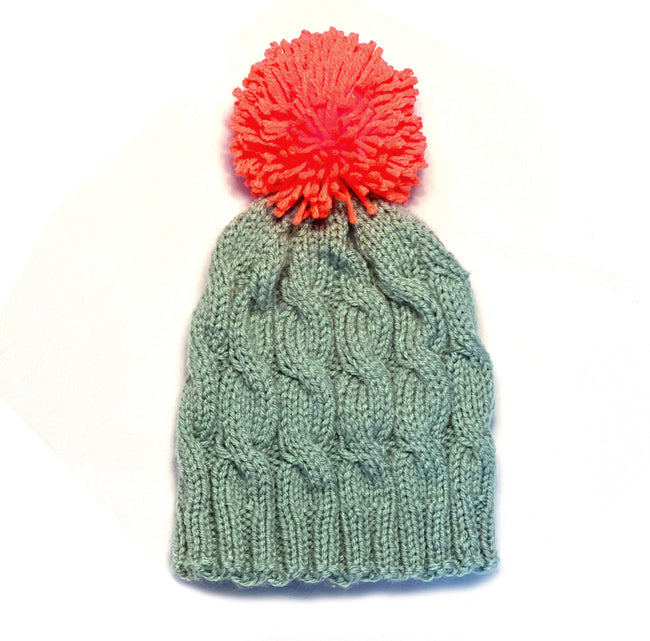 Sage and Mango Cable Pom Winter Hat