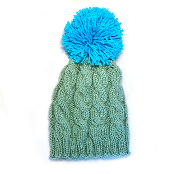Sage and Turquoise Cable Pom Winter Hat