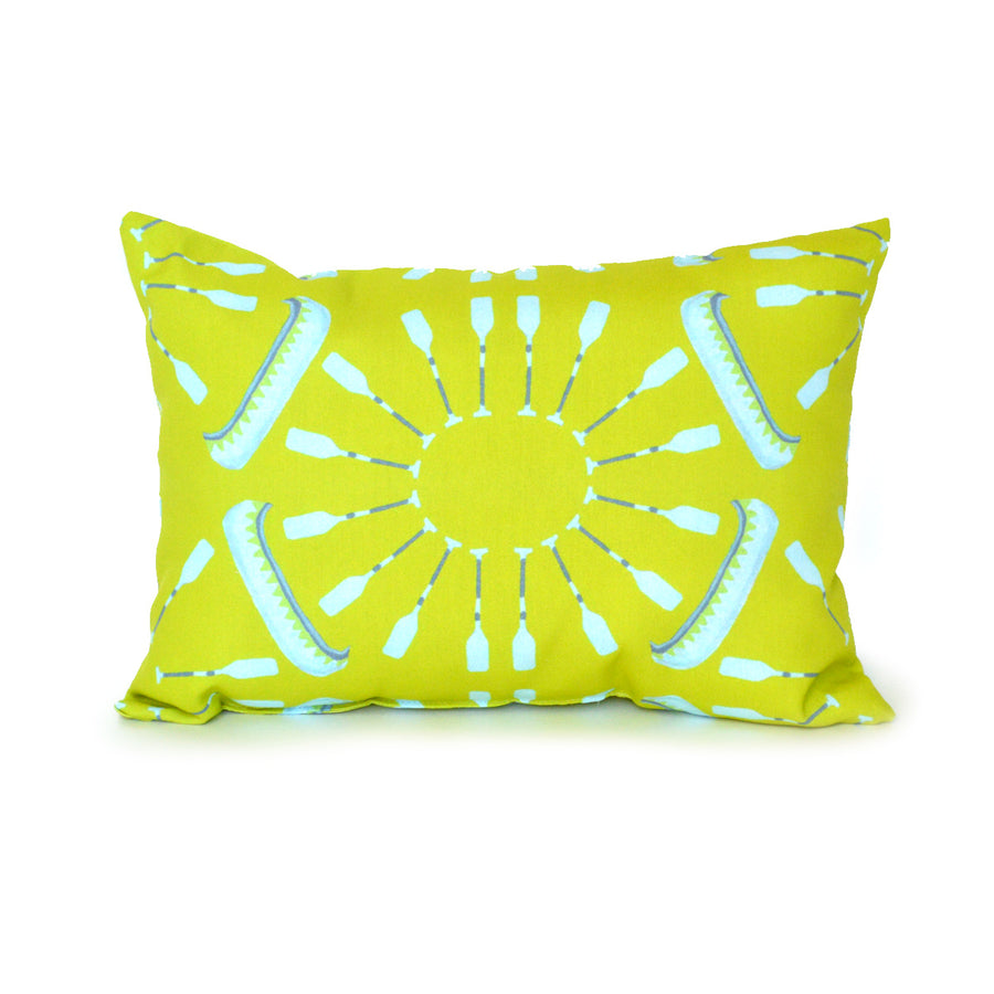 Citron Canoes and Oars Outdoor Lumbar Pillow