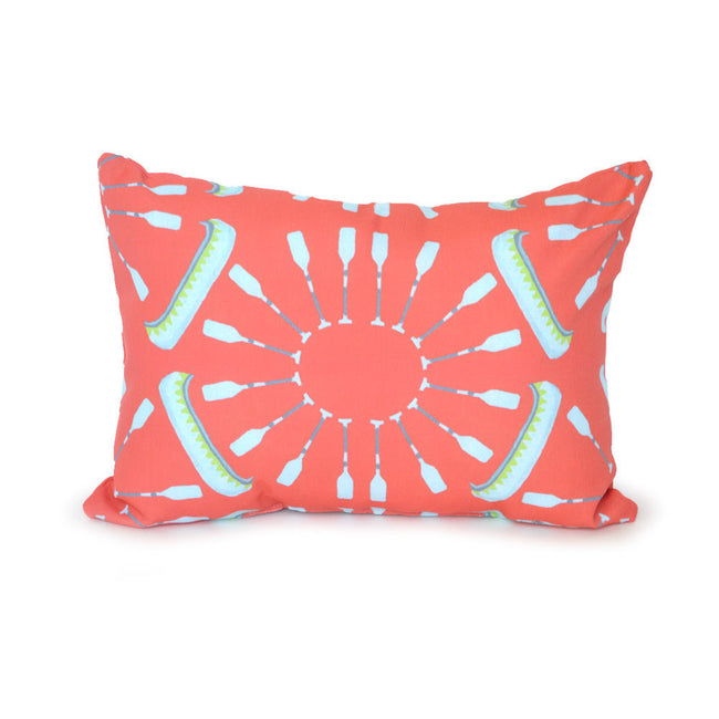 Coral Canoes Outdoor Lumbar Pillow