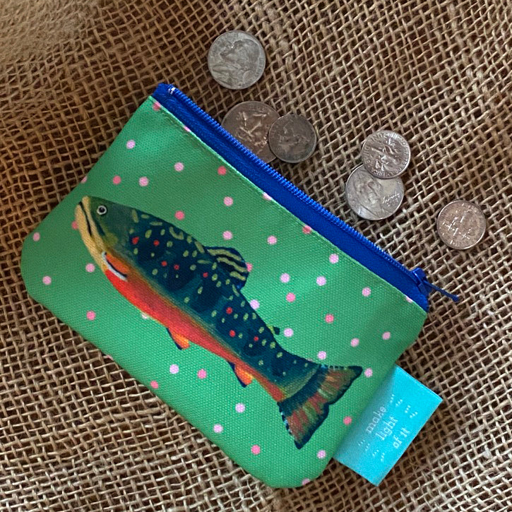 Leaf Brook Trout Zippered Change Purse