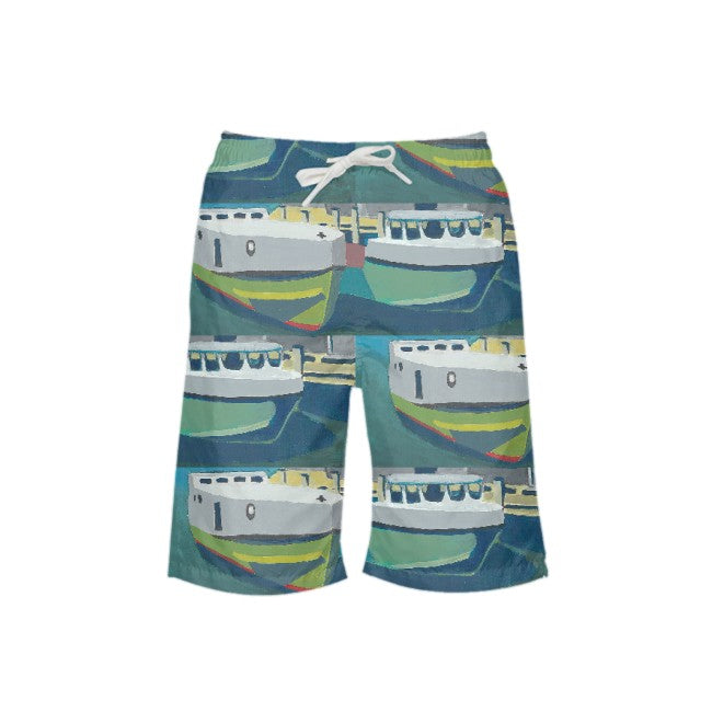 Staggered Tug Boy's Swim Trunks