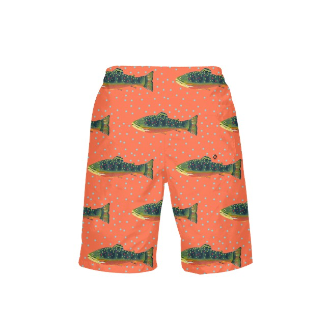 Grapefruit Brook Trout Boy's Swim Trunks