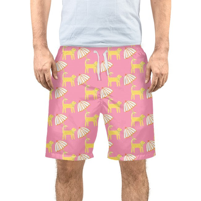 Sunset Dog Day Men's Swim Trunks