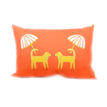 Grapefruit Dog Day Afternoon Outdoor Lumbar Pillow