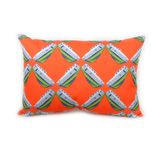 Grapefruit Tug Lattice Outdoor Lumbar Pillow