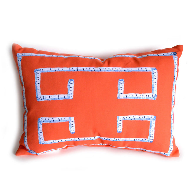 Orange Greek Key Outdoor Lumbar Pillow