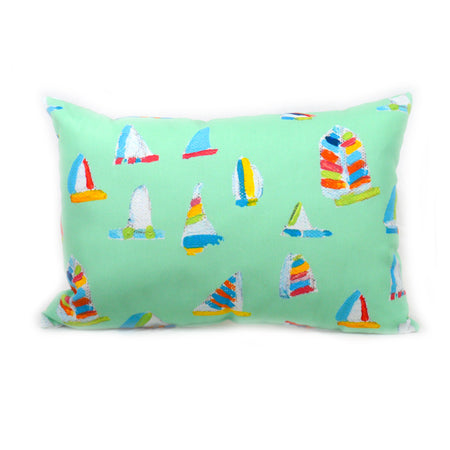 Seagreen Summer Sail Outdoor Lumbar Pillow