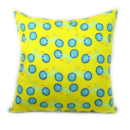 Citron Summer Bikes Outdoor Square Pillow