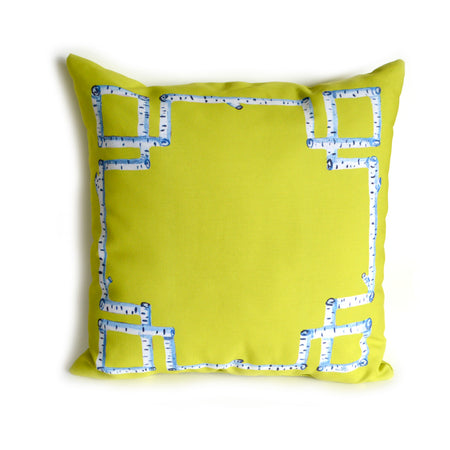 Citron Greek Key Outdoor Square Pillow
