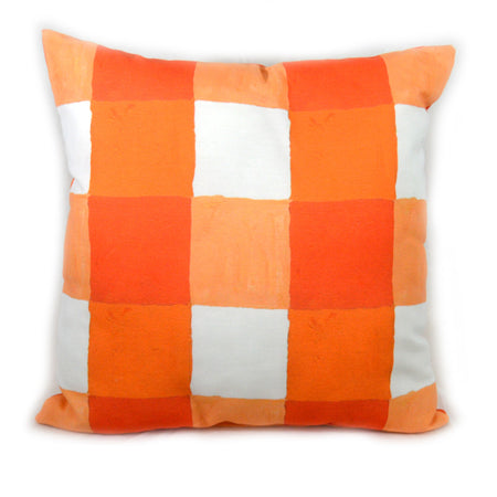 Citrus and White Buffalo Check Outdoor Square Pillow