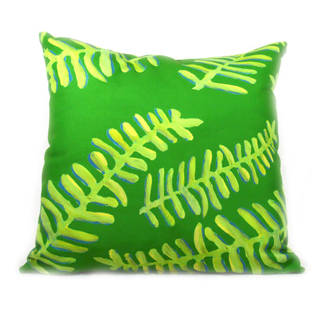 Emerald Floating Fronds Outdoor Square Pillow