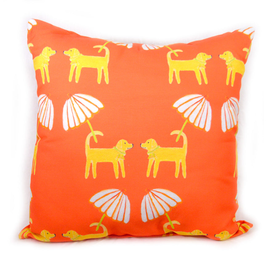 Grapefruit Dog Day Afternoon Outdoor Square Pillow