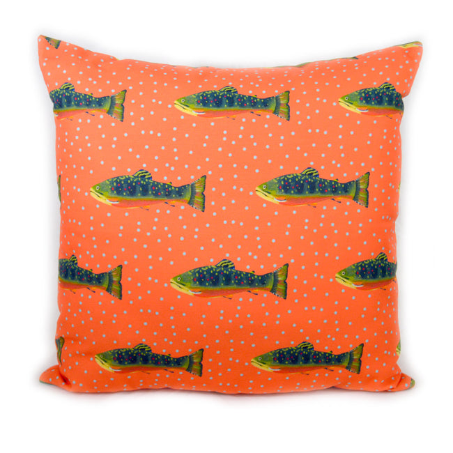 Grapefruit Brook Trout Outdoor Square Pillow