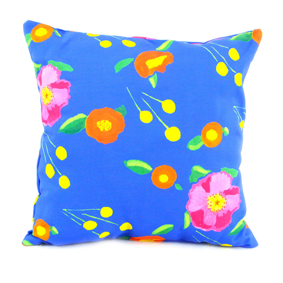 Indigo Katherine's Blooms Outdoor Square Pillow